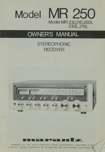 Marantz Model MR 250 /MR 230/215/250L/230L/215L Bedienungsanleitung