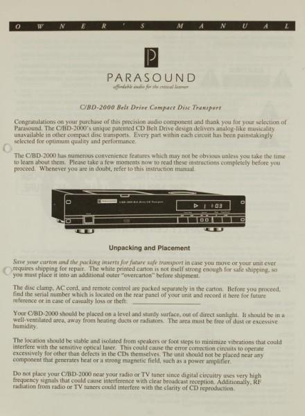 Parasound C/BD-2000 Bedienungsanleitung