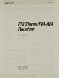 Sony STR-AV 370 X / STR-AV 270 X Bedienungsanleitung