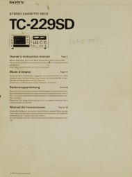 Sony TC-229 SD Bedienungsanleitung