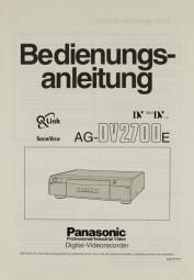 Panasonic AG-DV 2700 E Bedienungsanleitung