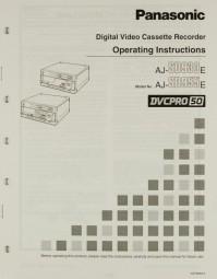 Panasonic AJ-SD 930 E / AJ-SD955 E Bedienungsanleitung