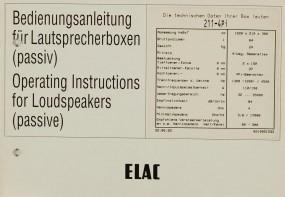 Elac 211-4 Pi Bedienungsanleitung