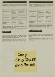 Sony EV-S 700 ES / EV-S 700 UB Bedienungsanleitung