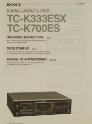 Sony TC-K 333 ESX / TC-K 700 ES Bedienungsanleitung
