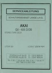 Akai GX-635 D/DB Schaltplan / Serviceunterlagen
