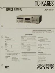 Sony TC-KA 6 ES Schaltplan / Serviceunterlagen