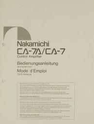 Nakamichi CA-7A / CA-7 Bedienungsanleitung
