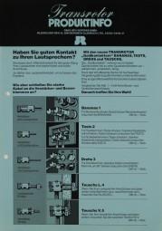 JR Transrotor Produktinfo Prospekt / Katalog