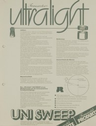 JR Transrotor Ultralight Uni Sweep Prospekt / Katalog
