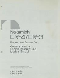 Nakamichi CR-4 / CR-3 Bedienungsanleitung