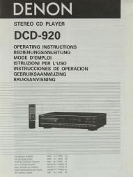 Denon DCD-920 Bedienungsanleitung