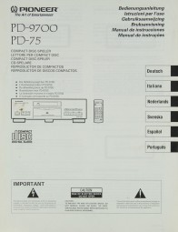 Pioneer PD-9700 / PD-75 Bedienungsanleitung