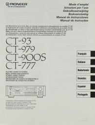 Pioneer CT-93 / 979 / 900 S / 777 Bedienungsanleitung