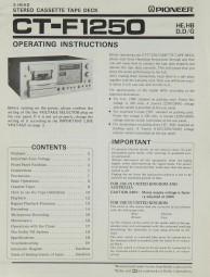 Pioneer CT-F 1250 Bedienungsanleitung
