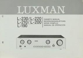 Luxman L-230 / L-220 / L-210 / L-200 / L-190 Bedienungsanleitung