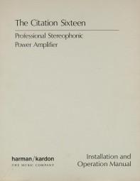 Harman / Kardon Citation 16 Bedienungsanleitung