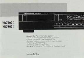 Harman / Kardon HD 7500 II / HD 7600 II Bedienungsanleitung