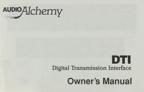 Audio Alchemy SN DTI Bedienungsanleitung