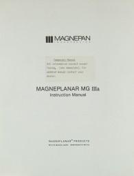 Magneplanar Magneplanar MG III A Bedienungsanleitung