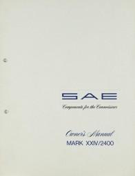 SAE MARK XXIV / 2400 Bedienungsanleitung