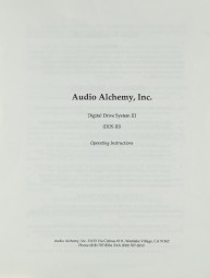 Audio Alchemy DDS III Bedienungsanleitung