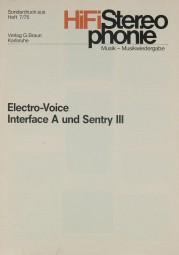 Electro-Voice Interface A / Sentry III Prospekt / Katalog