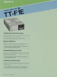 Sony TT-F 1 E Bedienungsanleitung