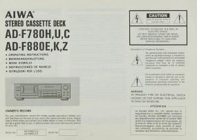 Aiwa AD-F 780 H/U/C / AD-F 880 E/K/ Z Bedienungsanleitung