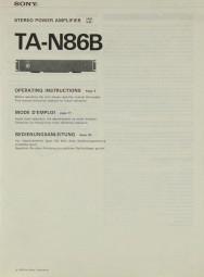 Sony TA-N 86 B Bedienungsanleitung
