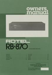 Rotel RB-870 Bedienungsanleitung