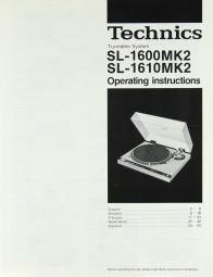 Technics SL-1600 MK 2 / SL-1610 MK 2 Bedienungsanleitung
