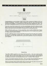 Parasound HCA-1200 Bedienungsanleitung