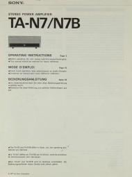 Sony TA-N 7 / N 7B Bedienungsanleitung