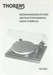 Thorens TD 2001 Bedienungsanleitung