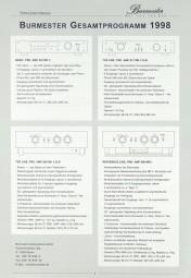 Burmester Lieferübersicht 1998 Prospekt / Katalog
