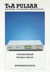 T + A PULSAR P 2000 AC Bedienungsanleitung