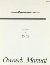 Luxman E-03 Bedienungsanleitung