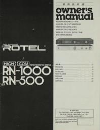 Rotel RN-1000 / RN-500 Bedienungsanleitung