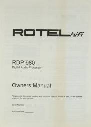 Rotel RDP 980 Bedienungsanleitung