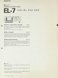 Sony EL-7 Bedienungsanleitung
