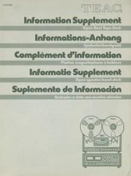 Teac Open Reel Tape Deck / Information Supplement Bedienungsanleitung