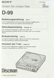Sony D-99 Bedienungsanleitung