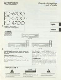 Pioneer PD-6700 / PD-5700 / PD- 4700 Bedienungsanleitung