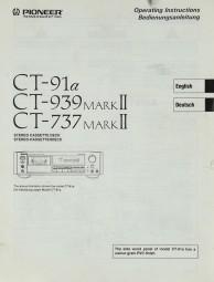 Pioneer CT-91 a / 939 MARK II / 737 MARK II Bedienungsanleitung