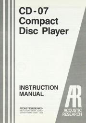 Acoustic Research CD-07 Bedienungsanleitung