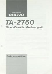 Onkyo TA-2760 Bedienungsanleitung