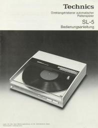 Technics SL-5 Bedienungsanleitung