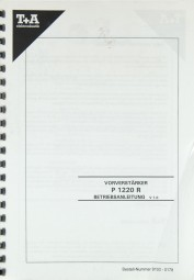 T + A P 1220 R Bedienungsanleitung