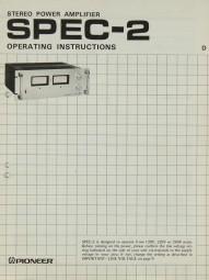 Pioneer SPEC-2 Bedienungsanleitung